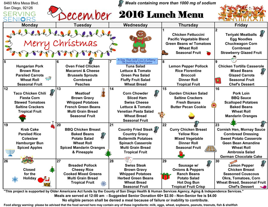 December lunch menu now available! | Mira Mesa Center